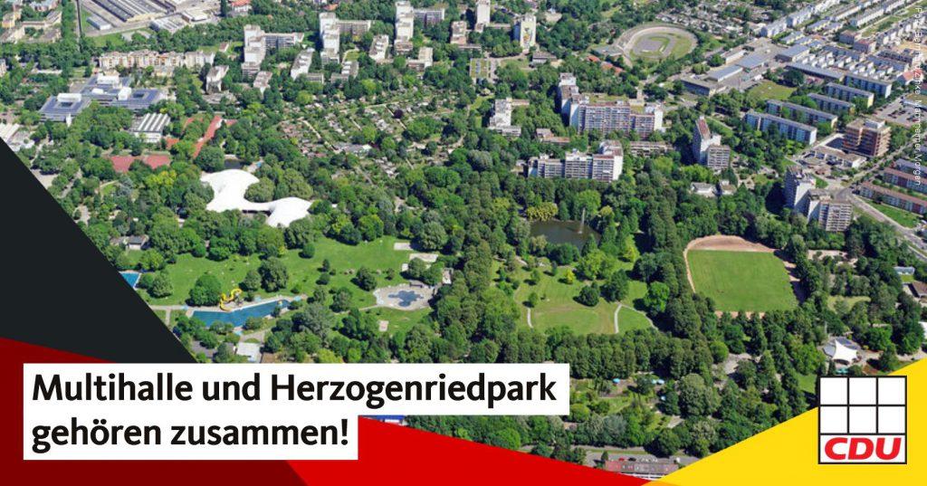 Multihalle und Herzogenriedpark gehören zusammen